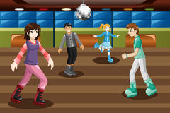 Teenagers roller skating in an indoor arena. A vector illustration of teenagers roller skating in an indoor arena Royalty Free Stock Photography