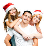 Teenagers  in Santa hat Stock Photography