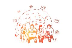 Teenagers sharing comments and messages online, men and women communicating through portable devices. Friends surrounded with social media symbols concept vector illustration