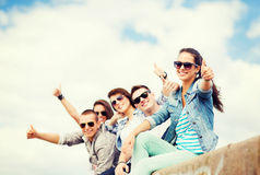Teenagers showing thumbs up Stock Photos