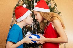 Teenagers siblings jokingly trying to snatch each other`s Christmas gift Royalty Free Stock Image