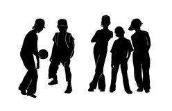 Teenagers silhouette. Black silhouette children's on white background Stock Image