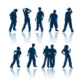 Teenagers silhouettes royalty free stock photo