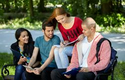 Teenagers sitting on a bench and doing homework Royalty Free Stock Images