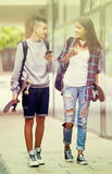 Teenagers with skateboards walking Royalty Free Stock Images