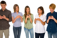 Teenagers with smartphone Stock Images