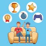 Teenagers and smartphone games. Cartoons vector illustration graphic design stock illustration