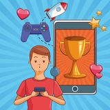 Teenagers and smartphone games. Teenagers man playing smartphone games cartoons vector illustration graphic design stock illustration