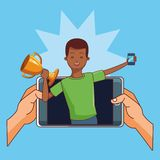 Teenagers and smartphone games. Teenagers man playing smartphone games cartoons vector illustration graphic design royalty free illustration
