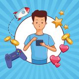 Teenagers and smartphone games. Teenagers man and smartphone games vector illustration graphic design stock illustration