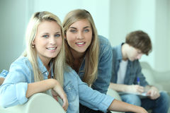 Teenagers smiling at camera Stock Image