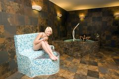 Teenagers in spa baths Royalty Free Stock Photography
