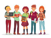 Teenagers students group. Young teens highschool student friends learning together. Teenager with school backpack vector vector illustration