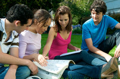 Teenagers studying outdoor. Group of teenagers studying outdoor Royalty Free Stock Images