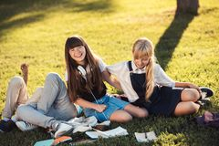 Teenagers studying in park stock image