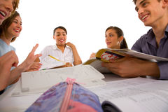 Teenagers studying together Stock Photography