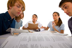 Teenagers studying together Royalty Free Stock Photography