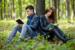 Teenagers studying together outdoor Stock Images