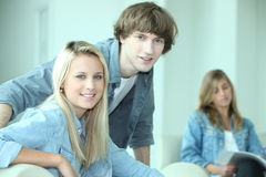 Teenagers studying Royalty Free Stock Images
