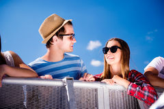 Teenagers at summer music festival, at the control barrier Royalty Free Stock Photography