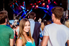 Teenagers at summer music festival having fun Royalty Free Stock Photography