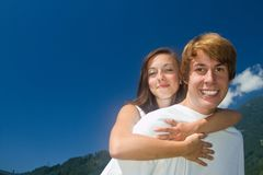 Teenagers and summer romance Stock Images
