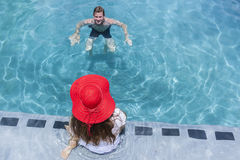 Teenagers Swimming Pool Summer Royalty Free Stock Photography