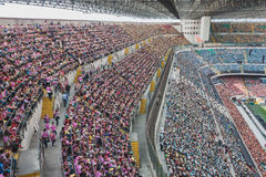 50.000 teenagers take part in a religious ceremony at San Siro stadium in Milan, Italy Stock Images