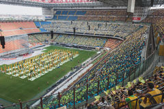 50.000 teenagers take part in a religious ceremony at San Siro stadium in Milan, Italy Royalty Free Stock Image