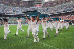50.000 teenagers take part in a religious ceremony at San Siro stadium in Milan, Italy Royalty Free Stock Photos