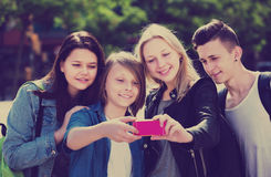 Teenagers taking mobile self picture Stock Photography