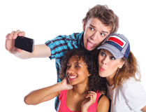 Teenagers taking a self photo Stock Photography