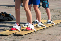 Teenagers teamwork. In a sunny day Royalty Free Stock Image