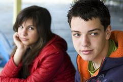 Teenagers thinking about problems Royalty Free Stock Images