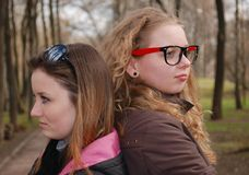 Teenagers' troubles. Emotional scene with two teenage girls Royalty Free Stock Images