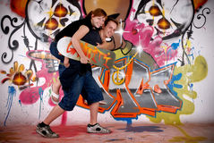 Teenagers urban graffiti Stock Photo