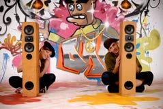 Teenagers urban graffiti Stock Photography