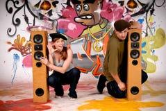Teenagers urban graffiti Royalty Free Stock Images