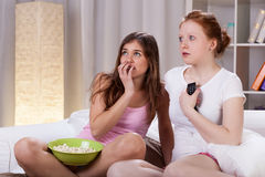 Teenagers watching horror movie Stock Photography
