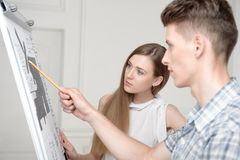 Teenagers working at projective drawing Stock Photography