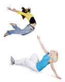 Teenagersl dancing hip-hop over white background Royalty Free Stock Photos