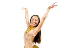Teenger que sorri no vestido dourado Imagem de Stock
