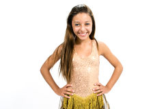 Teenger smiling in golden dress. Posing for dancing Stock Photography