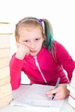 Teengirl in school stress. Teeanger is overwhelmed with school royalty free stock images