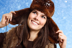 Teennager girl pretty smiling on winterbackground Royalty Free Stock Photo