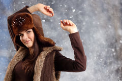Teennager girl smiling on winter background Royalty Free Stock Photo