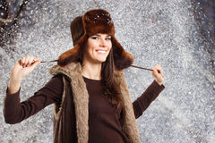 Teennager girl smiling on winter background Stock Photo