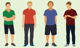 Teens. 4 teen boys wearing in shorts and pants Royalty Free Stock Photo