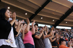 Teens. Praising during the Harvest Crusade at Angels Stadium Stock Photography