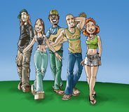 Teens. A group of the teenagers royalty free illustration